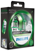 Галогенные лампы Лампа Philips H4 12V 60/55W P43t-38 ColorVision Green SP 12342CVPGS2